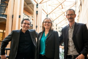 (from left to right) Dr Richard Hamelin, Dr Sally Aitken, & Dr Robert Kozak in the Forest Sciences Centre at the University of British Colubmia